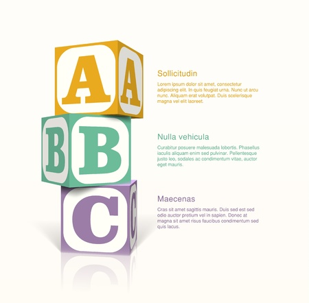 letter blocks: Tree cubes with letters on the sides on a vector background. Step by step concept
