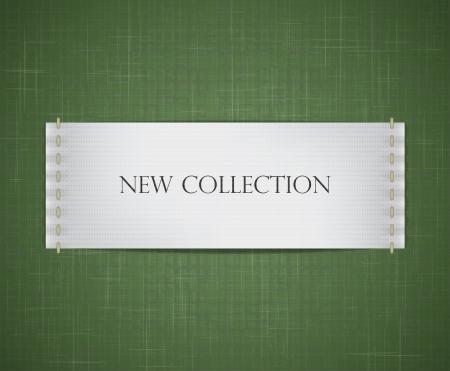 etiquetas de ropa: Vector realista de marca blanca cosida a un backgroun textura de tela
