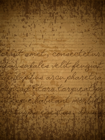 written text: Old brown paper with hand written text in latin