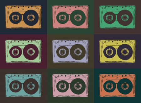 oldie: Retro audio cassettes background  Vector image