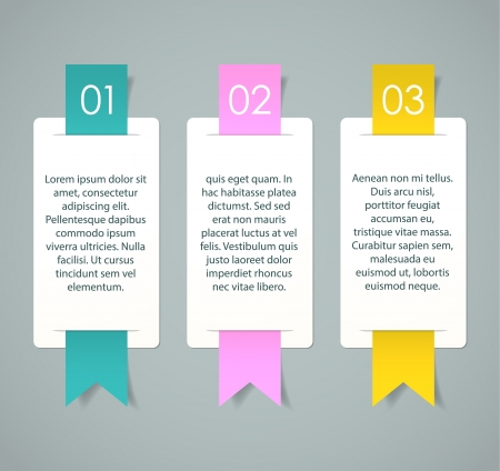 Three cards with numbers and sample text for a cool presentation   Illustration