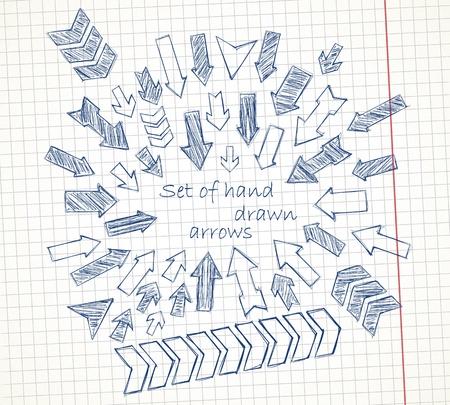 Conjunto de flechas dibujadas a mano en una imagen vectorial hoja de cuaderno Foto de archivo - 19877499