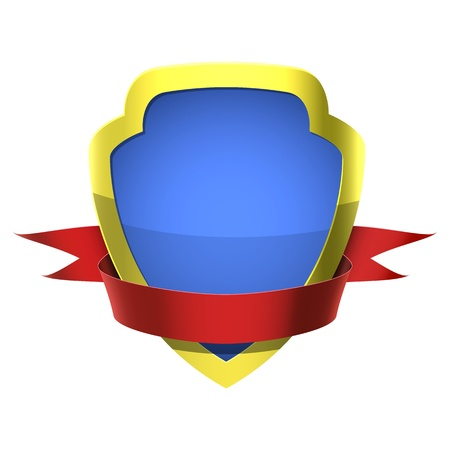 Shiny shield with a ribbon for placing text Vector