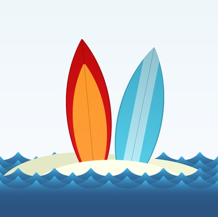 Simple vector illustration of two surfing boards standing on the beach sand  Vectores