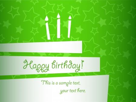 happy birthday party: vector estilizada tarjeta de la torta de cumplea�os verde, EPS10 Vectores