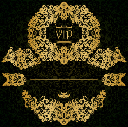 Patterned VIP gold card with a placeholder Vector