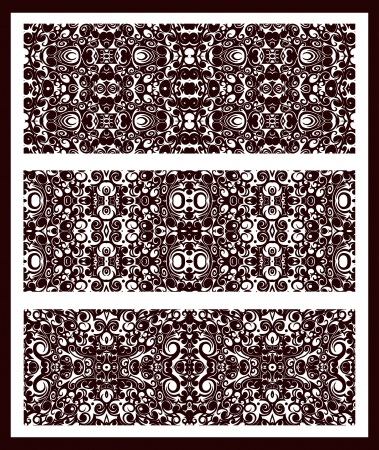 repeatable: three brown vector simple vintage seamless patterns