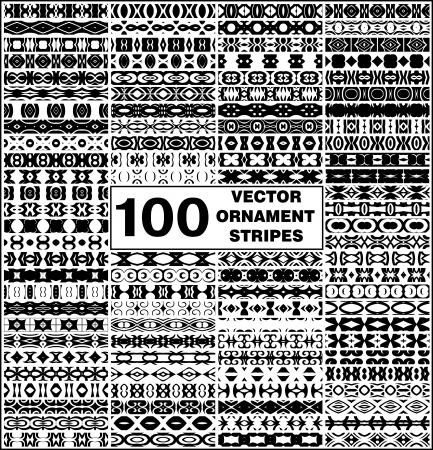 set of 100 simple seamless vector ornament stripes for text decoration Vector