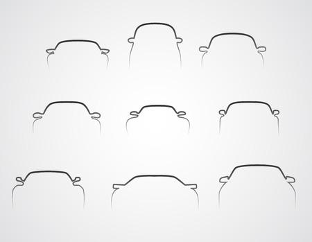 Nine cars front silhouettes set  Illustration