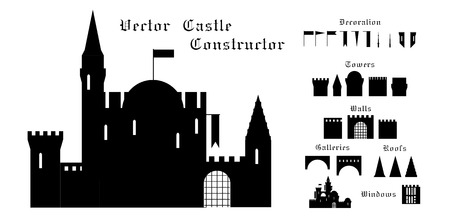 set of vector elements of a medieval castle.