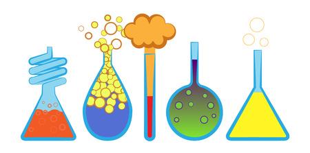 Vector illustratie van laboratorium kolven die over witte achtergrond Stock Illustratie