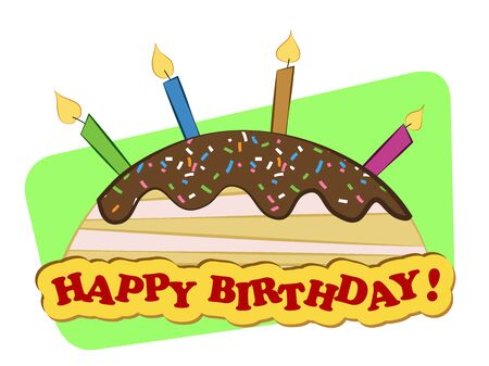 A cheerful card with birthday cake and candles Stock Vector - 22562211