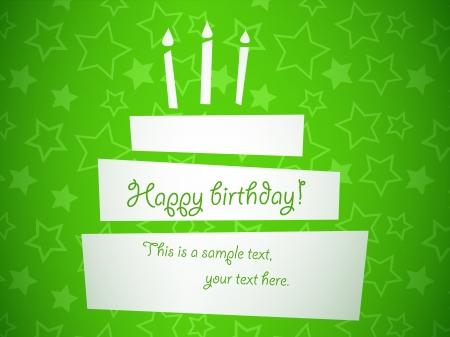bright cake: vector stylized green birthday cake card, EPS10 Illustration