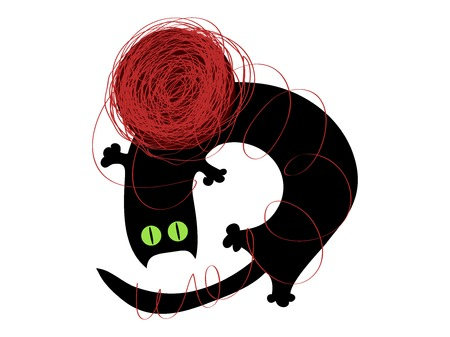 vector black cat playing with a ball of yarn Illustration