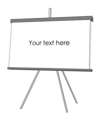 projector screen: schermo del proiettore vettore semplice isolato su bianco