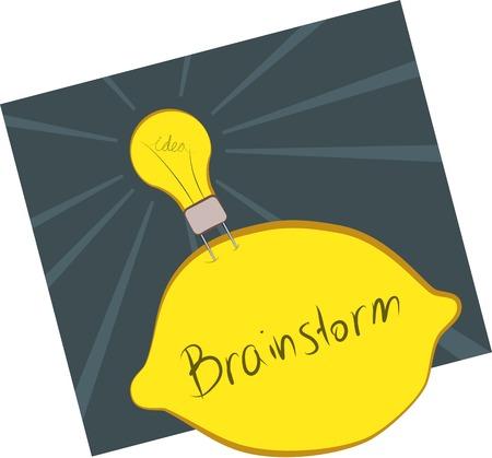 limon caricatura: concepto imagen de una lluvia de ideas con una bombilla de idea