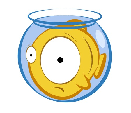 inconvenience: vector illustration of a cartoon fish in a small aquarium. Concept of an uncomfortable position Illustration