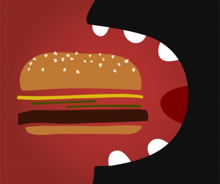 vector comic man eating a hamburger