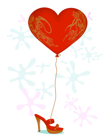 tied girl: heart shaped balloon tied to a shoe
