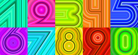 set of ten numbers made of lines Vector