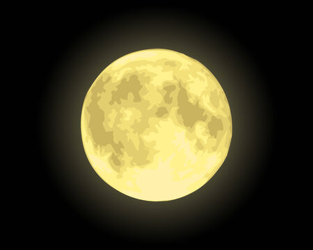 stargazing: Realistic yellow moon in the night sky