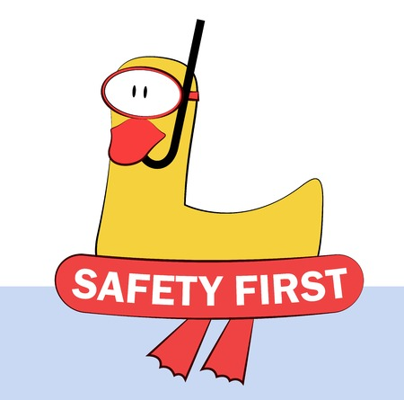 A duck with a life buoy and a swimming mask. Safety first! Illustration