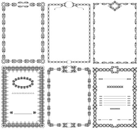 Set of vector ornament frames, black and white image.