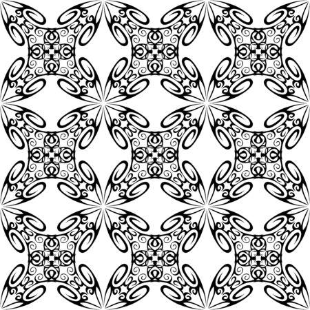 vector seamless ornamental pattern, black and white. Illustration