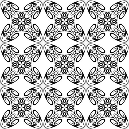 symmetrical design: vector seamless ornamental pattern, black and white. Illustration