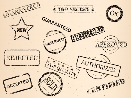 set of grungy old stamps, vector image Stock Vector - 23228314