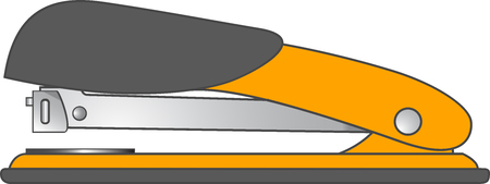 grapadora: naranja grapadora aisladas sobre fondo blanco, ilustración vectorial