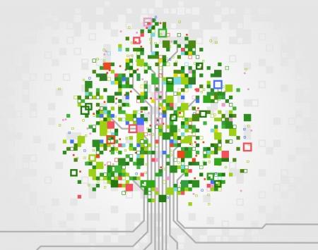 vector boom gemaakt van pixels, als symbool van de ontwikkeling van de computertechnologie Stock Illustratie