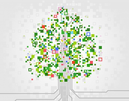 vector tree made of pixels, symbolizing the development of computer technologies
