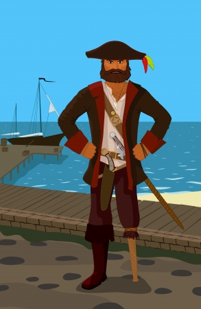 angry pirate, vector illustraction Vector