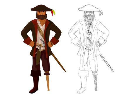 cutthroat: vector detailed angry pirate