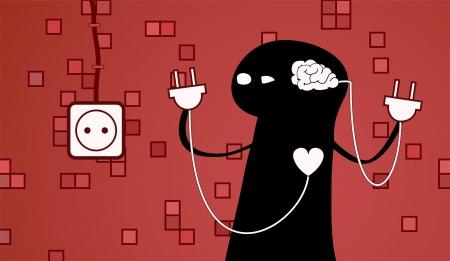心と脳の間の難しい選択の概念。