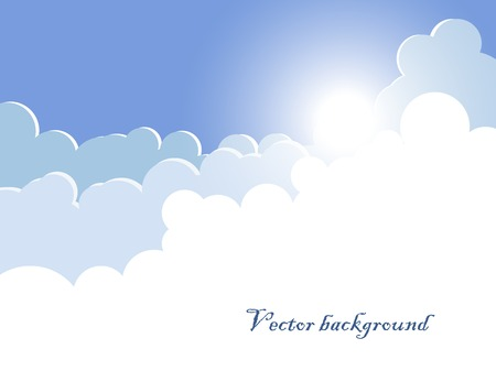 Vector eps10 background with clouds and rising sun Stock Vector - 23228475