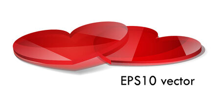 two red glossy glass hearts, isolated on white, EPS10 vector Stock Vector - 23228476