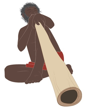 didgeridoo musician sitting and playing. Isolated on white. Vector