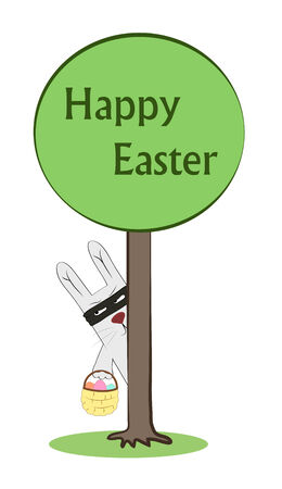 vector funny eater rabbit postcard, cartoon style Vector