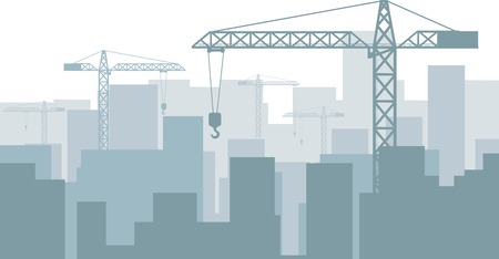 Blue vector background with silhouettes of buildings and cranes Vector