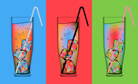 tall glass: three glasses of psychedelic cocktails with ice