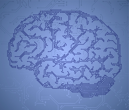 Computer style brain formed by semiconductor tracks