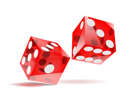 glassy rolling red dice with white dots, isolated on white, EPS10 vector Illustration
