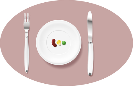 poor diet: A realistic served plate with diet food Illustration