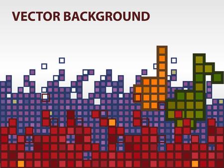 musik hintergrund: Vektor-Musik-Hintergrund mit zwei Notizen und Equalizer, Pixel-Stil