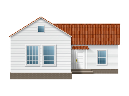 Small town house with white walls and red roof. EPS10 vector. Vector