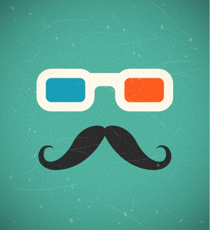 retro glasses: Hipster mustache and 3d cinema glasses. EPS10 vector background.