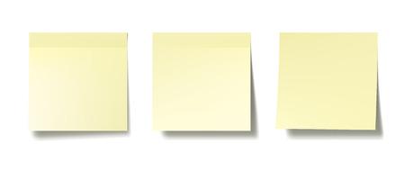 Drie realistische post-it notities op een witte muur. EPS10 vector.