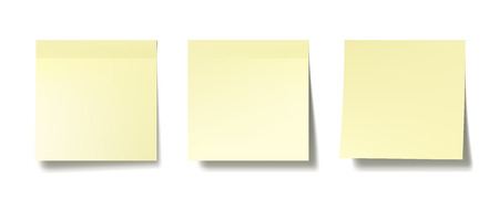 Three realistic post it notes on white wall. EPS10 vector.